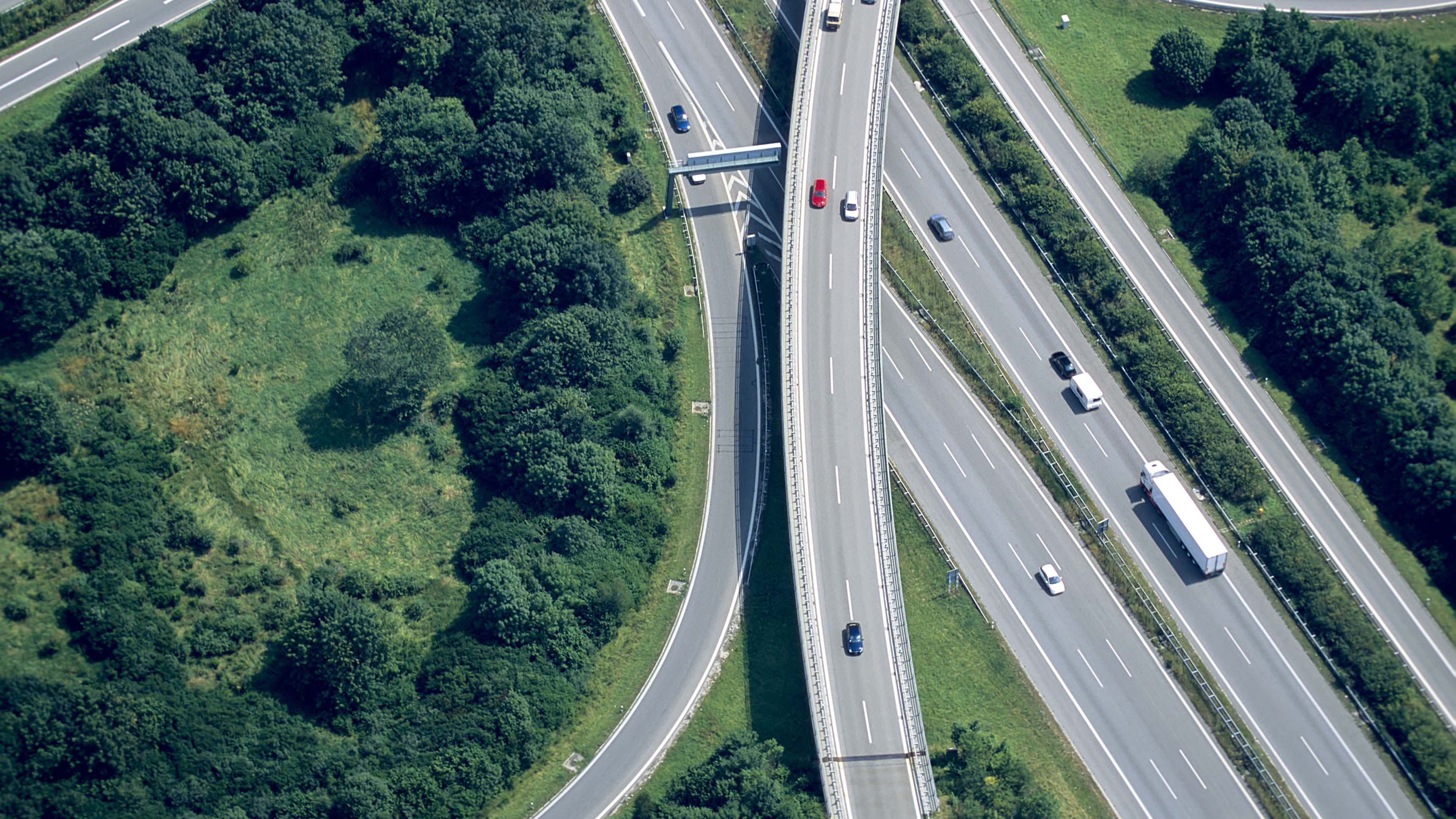 birdseye view of a motorway