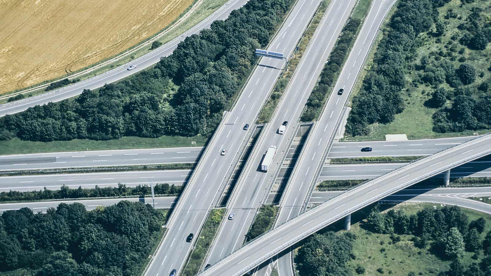Birdseye view of crossing motor ways