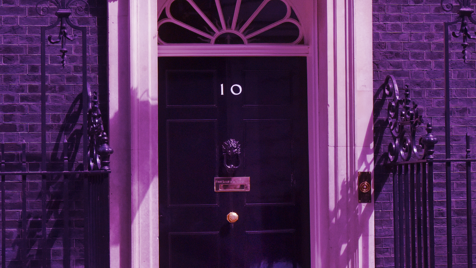 Black door with purple filter