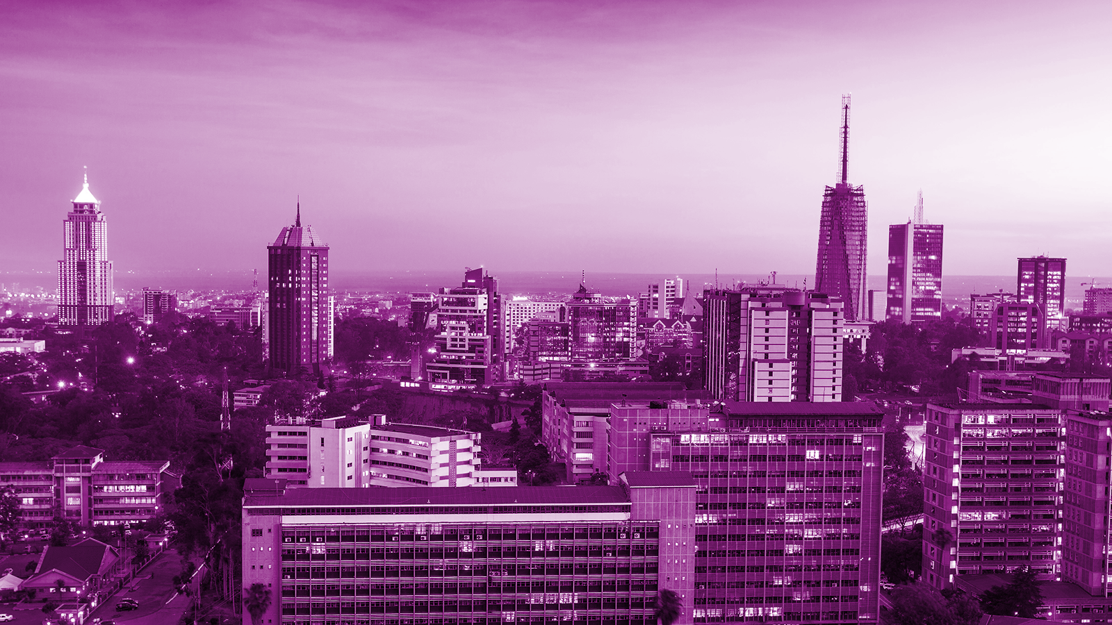City landscape with a purple filter