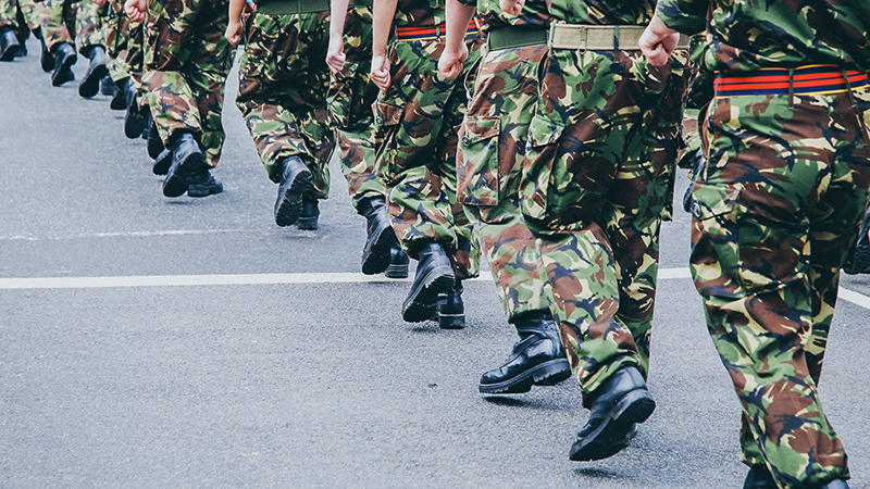 soldiers walking in camouflage trousers