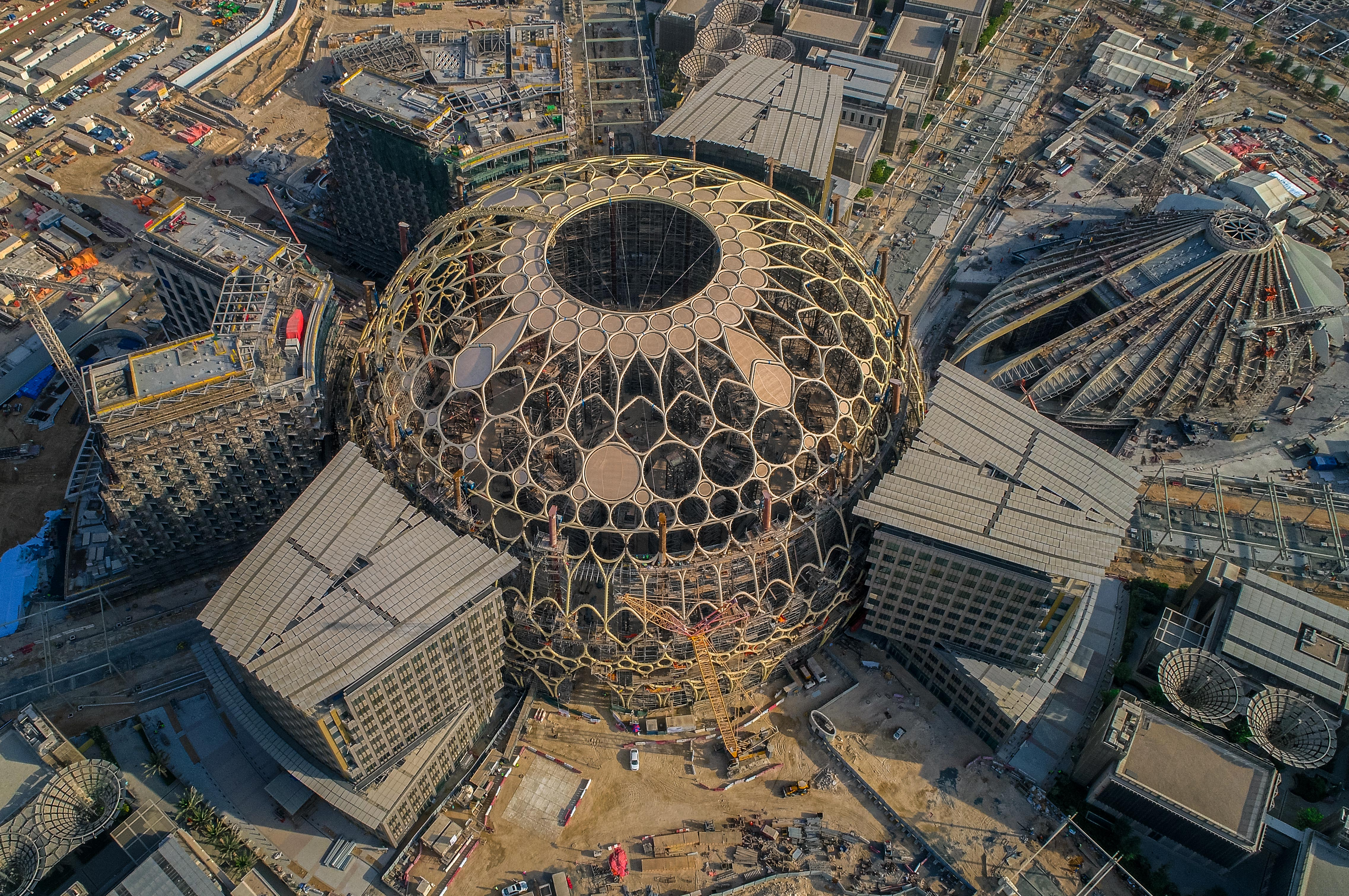 Aerial image of the main dome at Expo 2020 Dubai