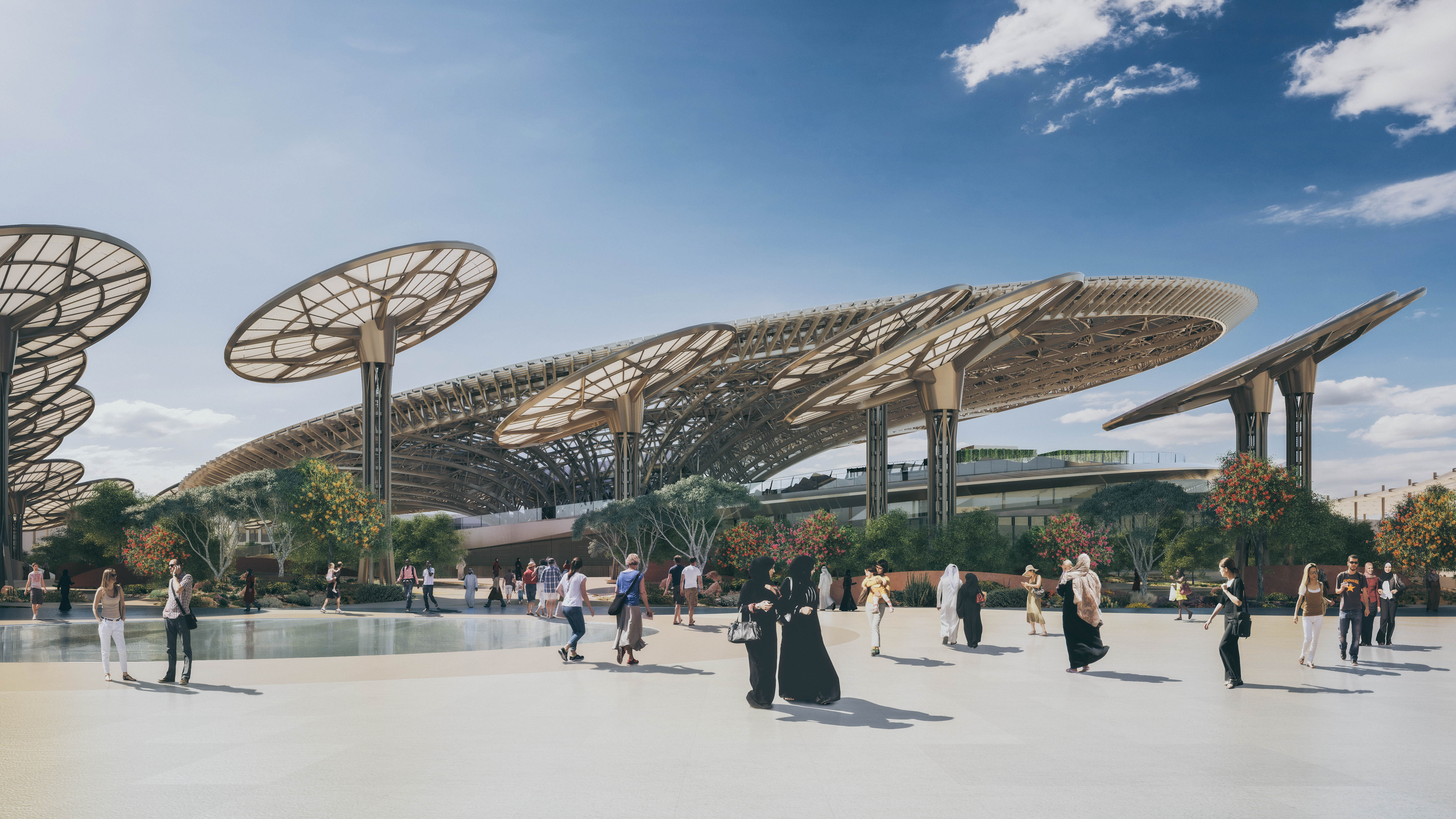 A CGI of the main entrance to Expo 2020 Dubai