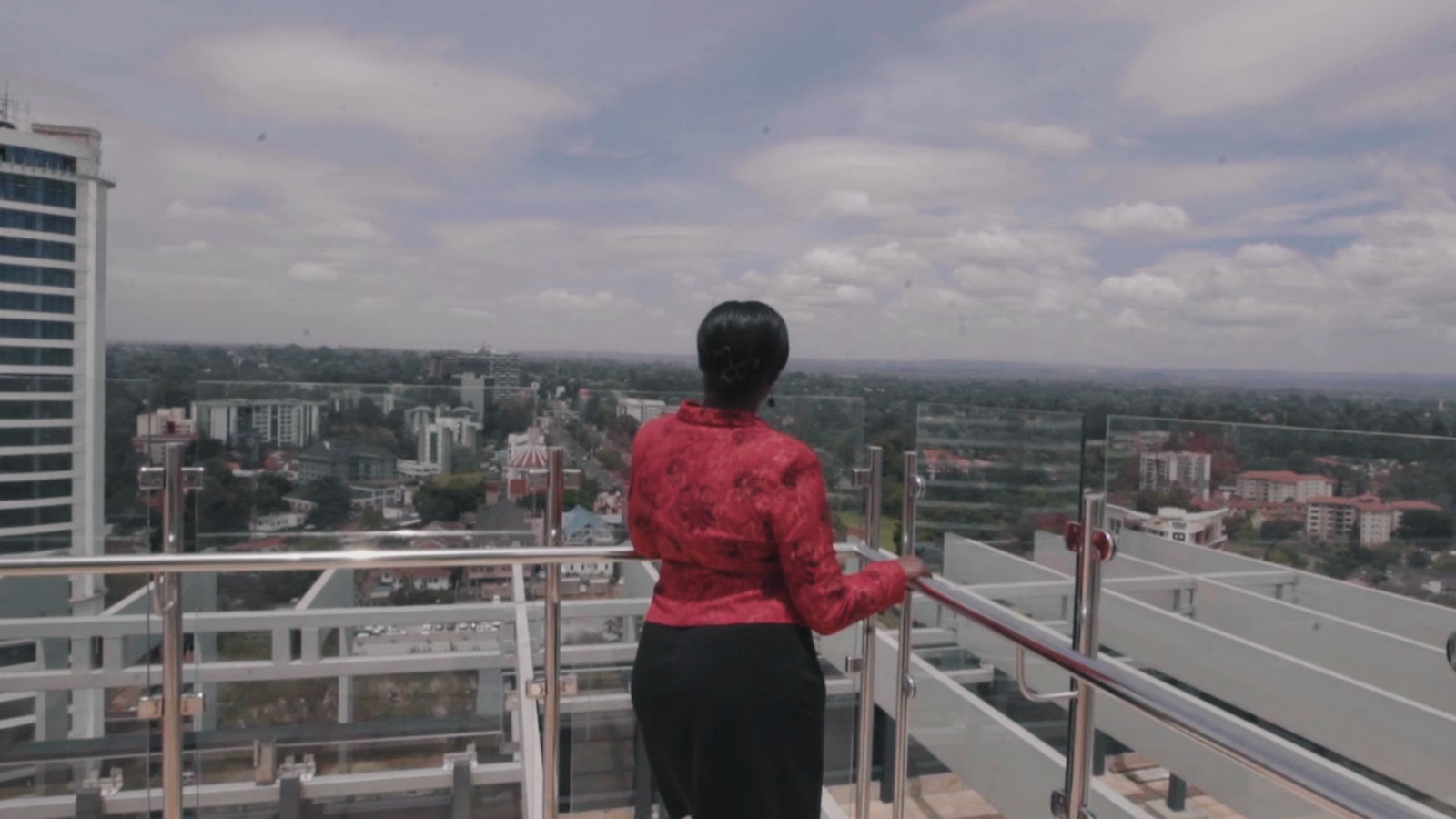 Video still - looking out over the city from Sanlam Tower viewing deck