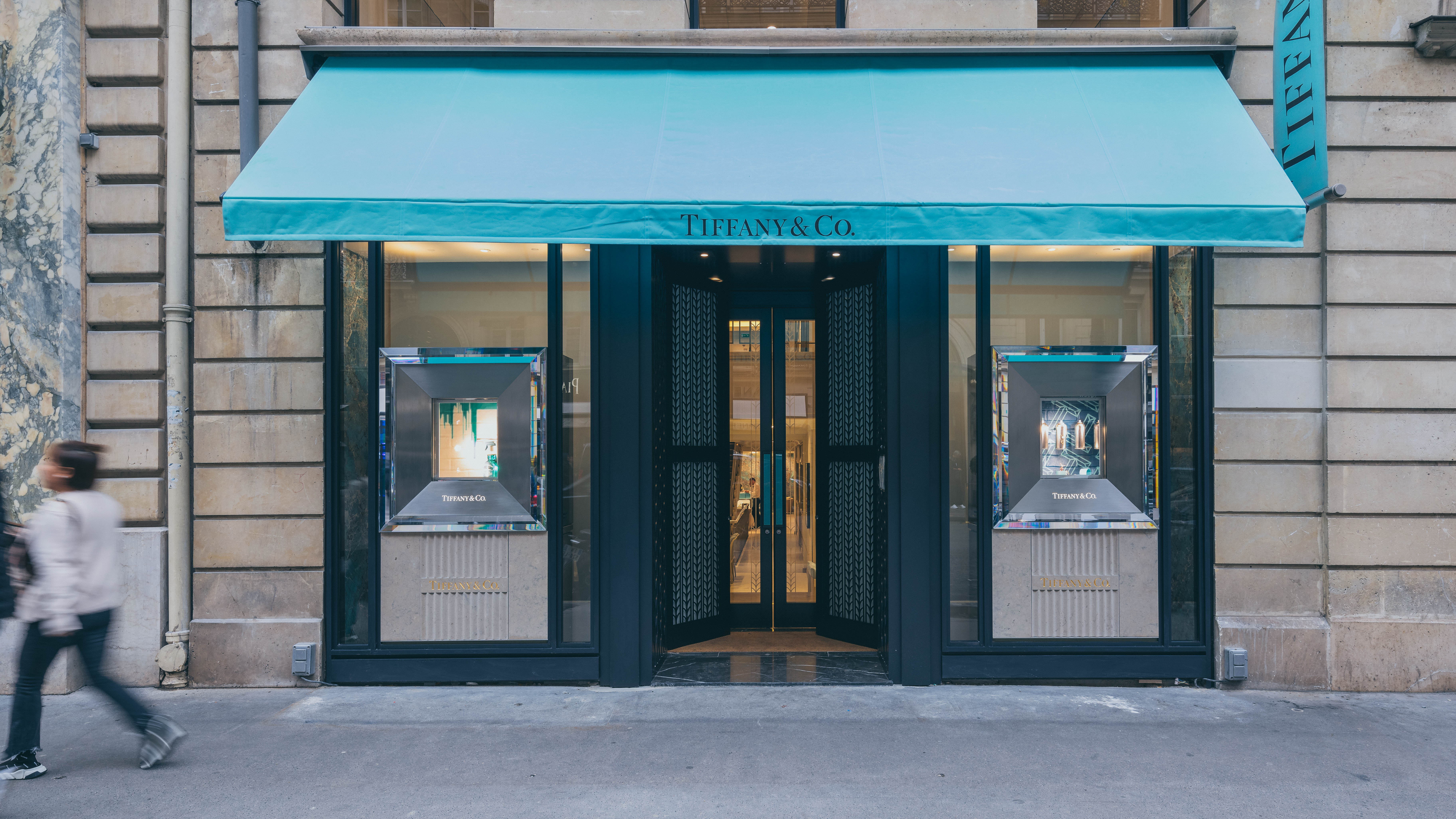 An exterior shot of a Tiffany & Co retail store